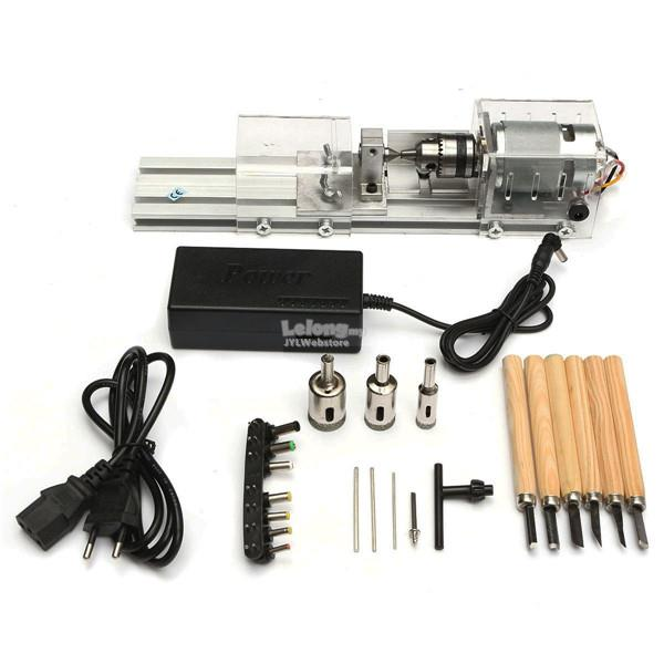 Mini Lathe Machine Woodworking DIY Lathe Set with DC 24V Power Adapter