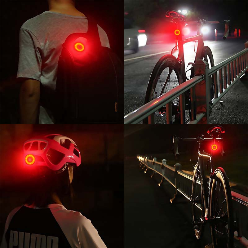 MINI LED Bicycle Tail Light USB Chargeable Bike Rear Lights I - [GOLD]