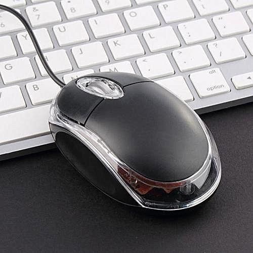 Mini LED Light Wired USB Optical Mouse Scroll Wheel Laptop Computer