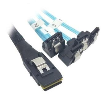 Mini SAS SFF8087 to 90 Degree L Angle 4 SATA 7 Pin HDD Splitter Cable