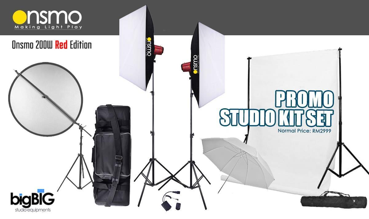 Mini Studio Setup Package (Onsmo 200W x 2 lights kit)