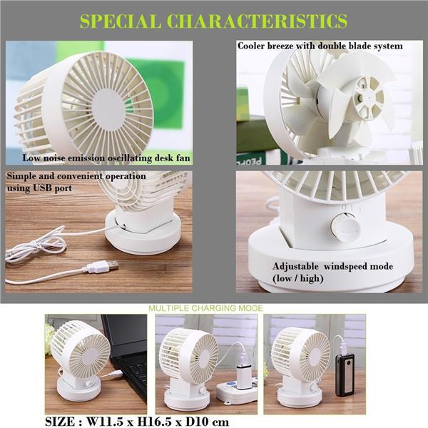 Mini Usb Desk Fan Oscillating Tiltable 2 Sd Muji Alike White