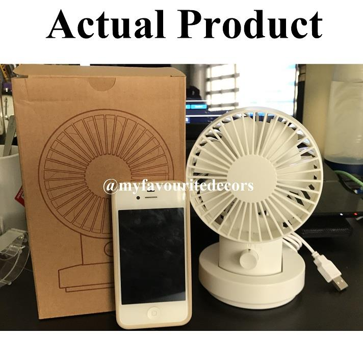 Mini Usb Desk Fan Oscillating Tiltable 2 Sd Muji Alike White