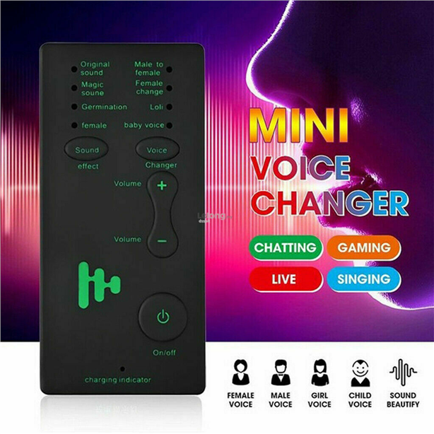 Mini Voice Changer Adapter 8 Voice Changing Modes Microphone Phone