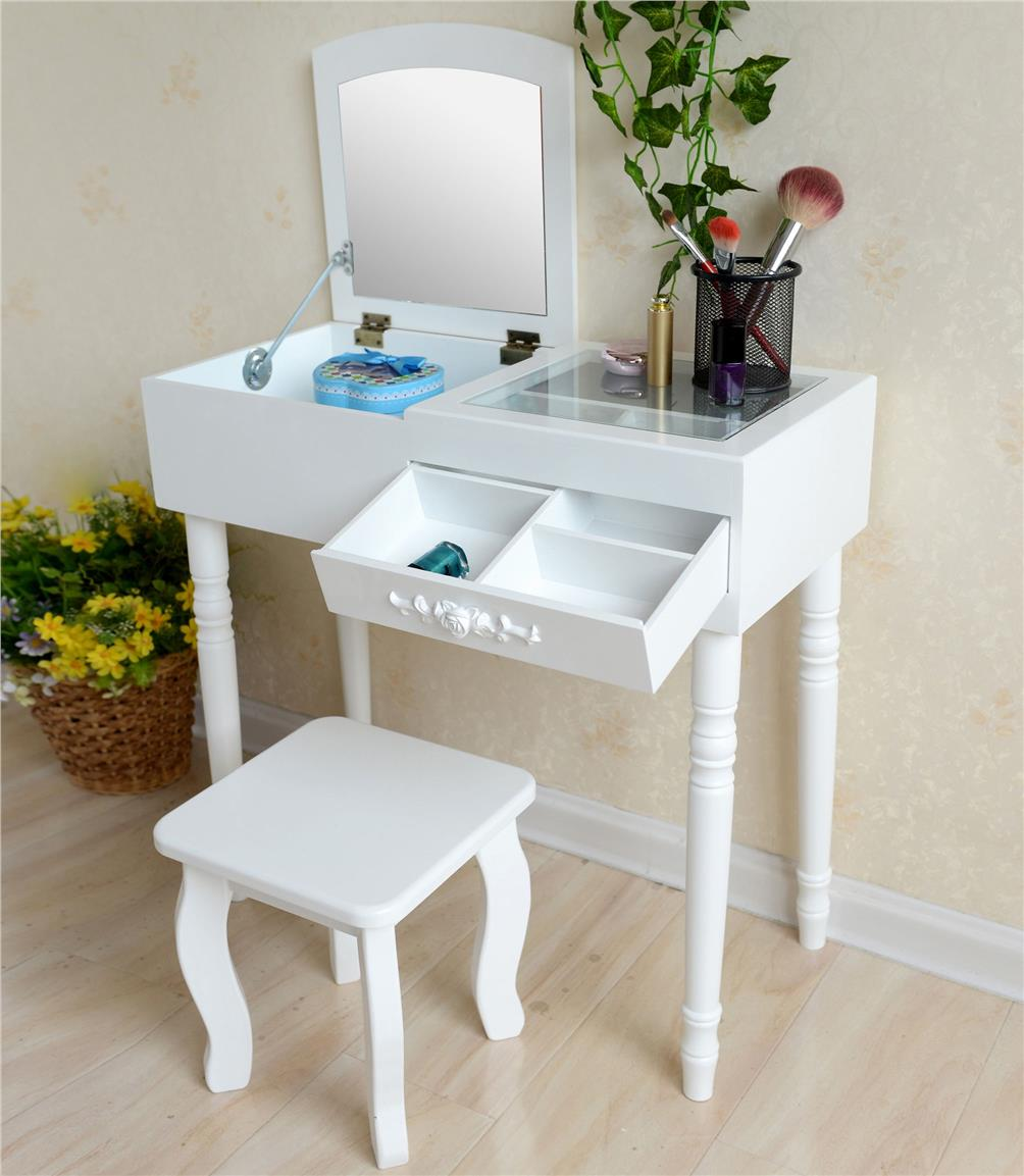 Minimalist Dressing Table Makeup Organizer Vanity Foldable Mirror Desk