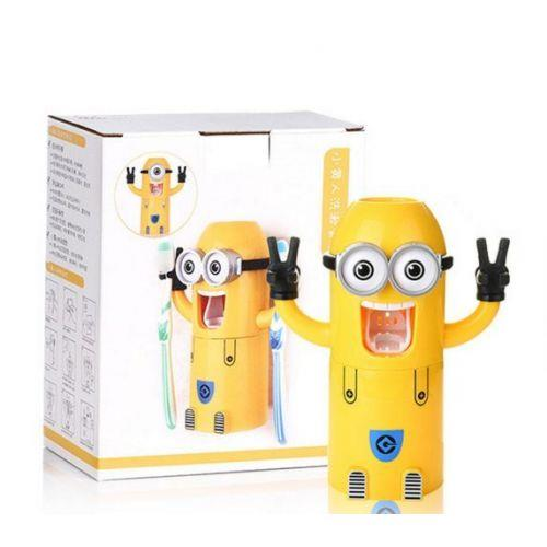 Minions Wash Kit Automatic Toothpaste Dispenser with Brush Cup (Yellow