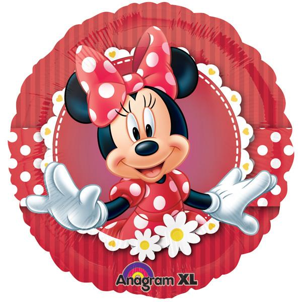Minnie Mouse 17-inches Foil Balloon 24813 Red Striped Border