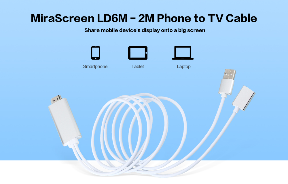 MiraScreen LD6M - 2M HDMI Cable for Phone to TV