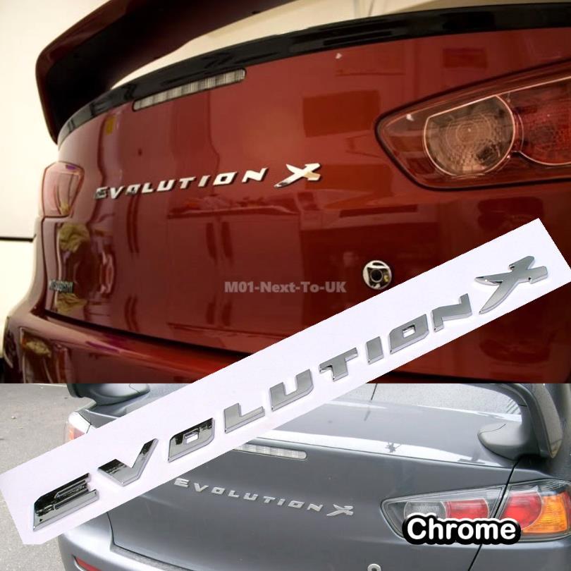 Mitsubishi lancer evolution x rear trunk chrome 3d car badge decal emb