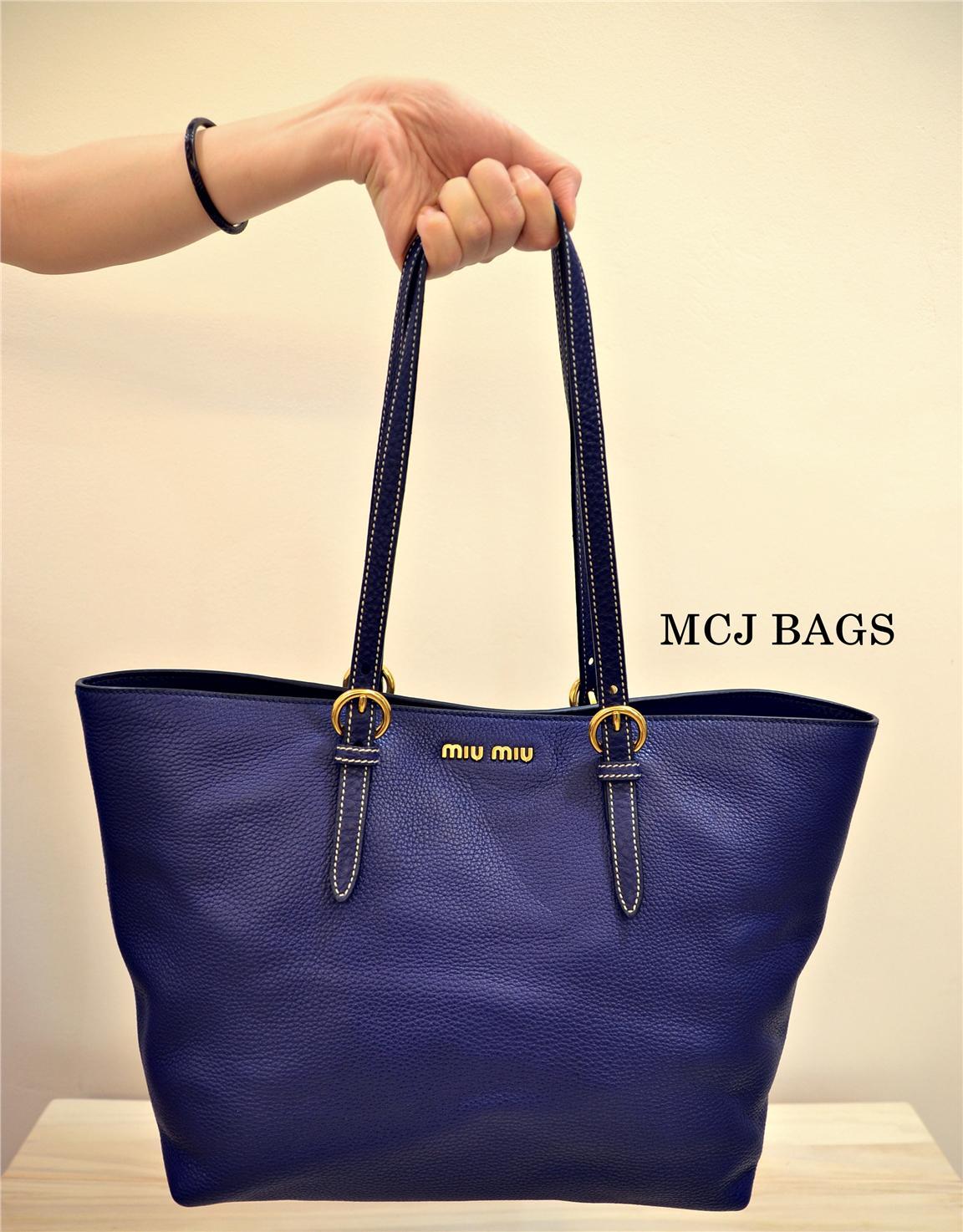 Miu Vit Daino Leather Per Tote Bag