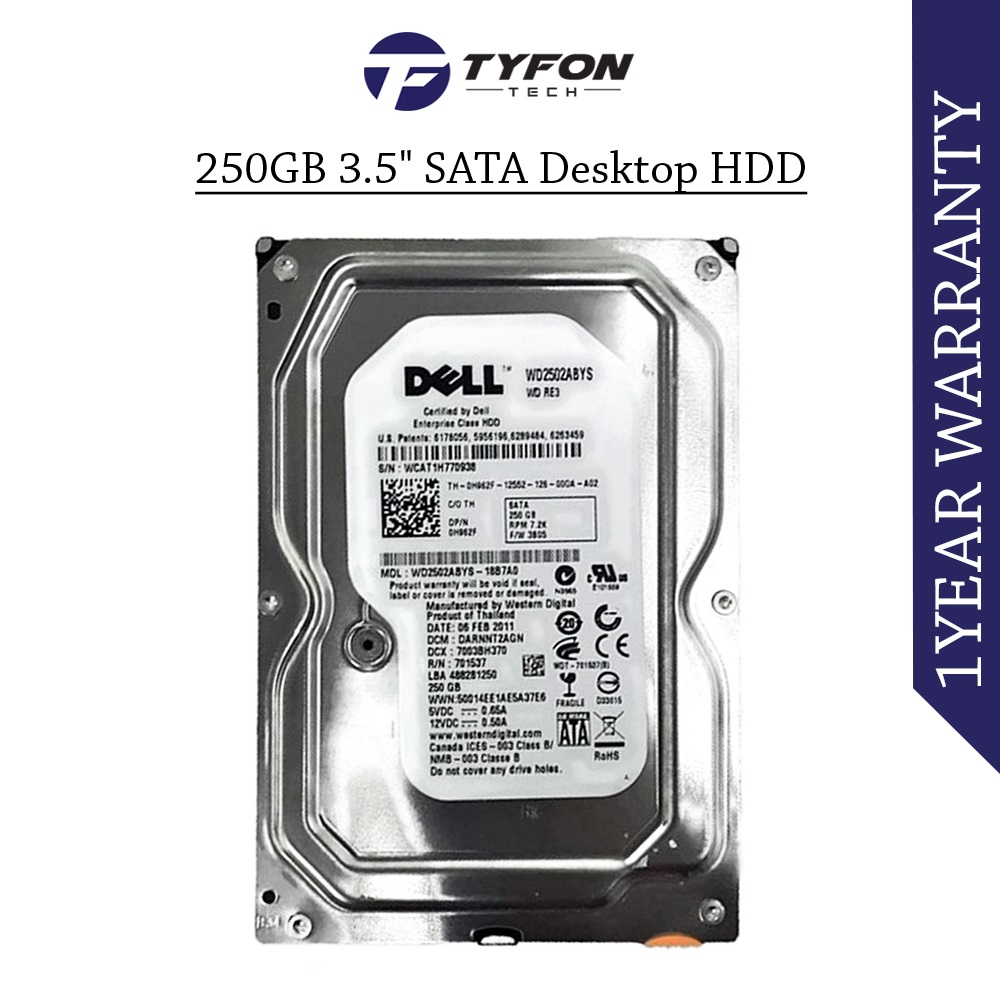 "Mix Branded 250GB 3.5 "" SATA Desktop PC Computer Hard Disk Drive"