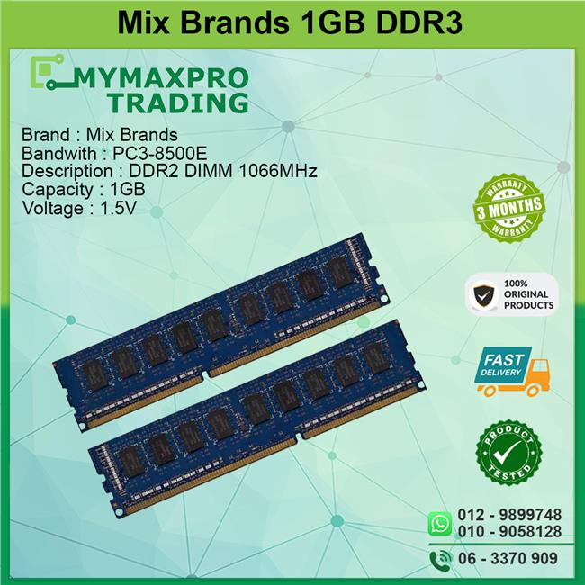 Mix Brands 1GB DDR3 DIMM 1066MHz ECC Server Workstation RAM