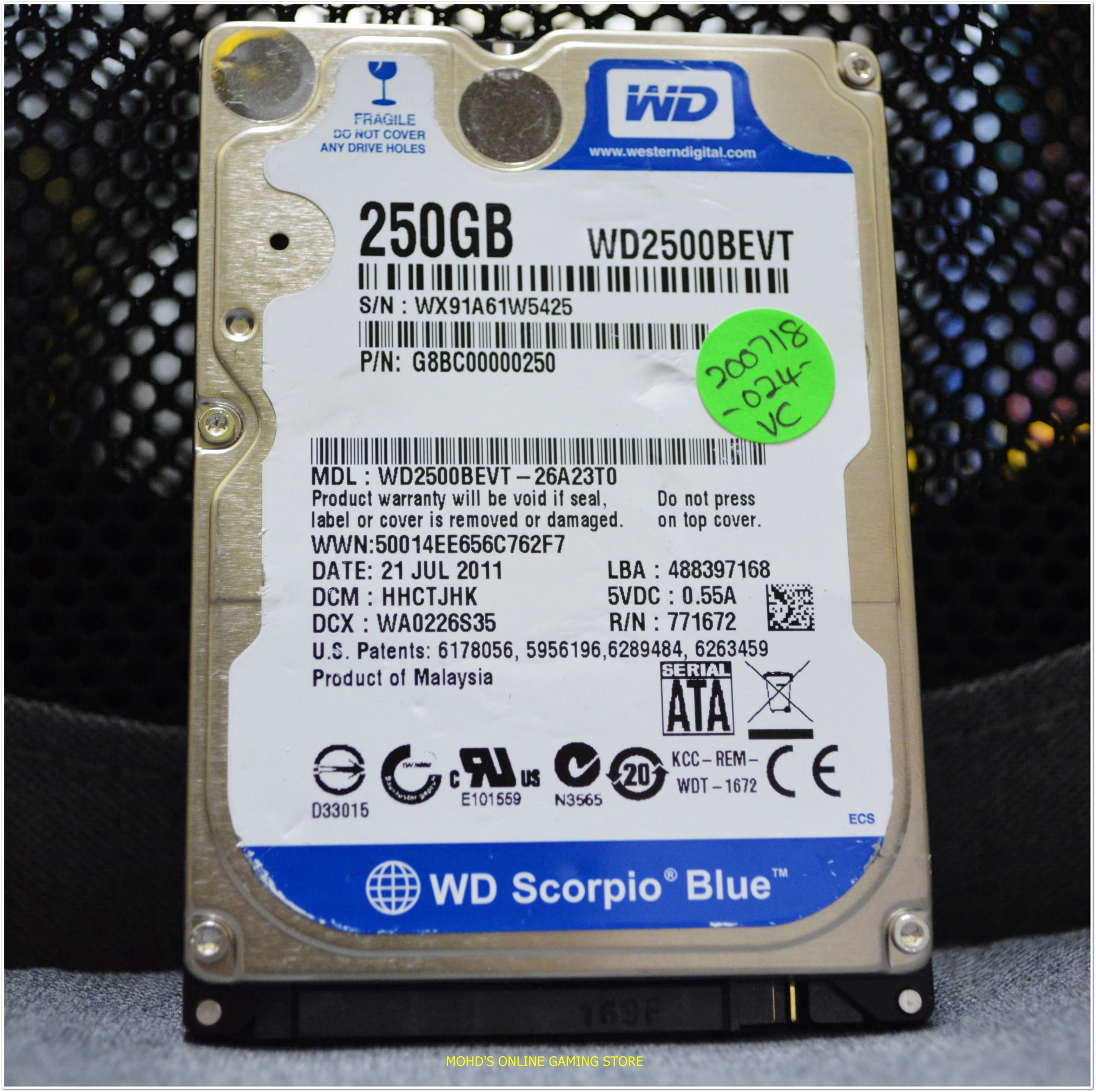 "MIXED BRAND 250GB 2.5"" LAPTOP HDD"