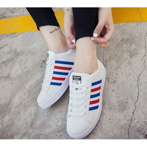 Mizora Women White Stripe Round Head Casual Sport Shoes (3 Color) MT021151