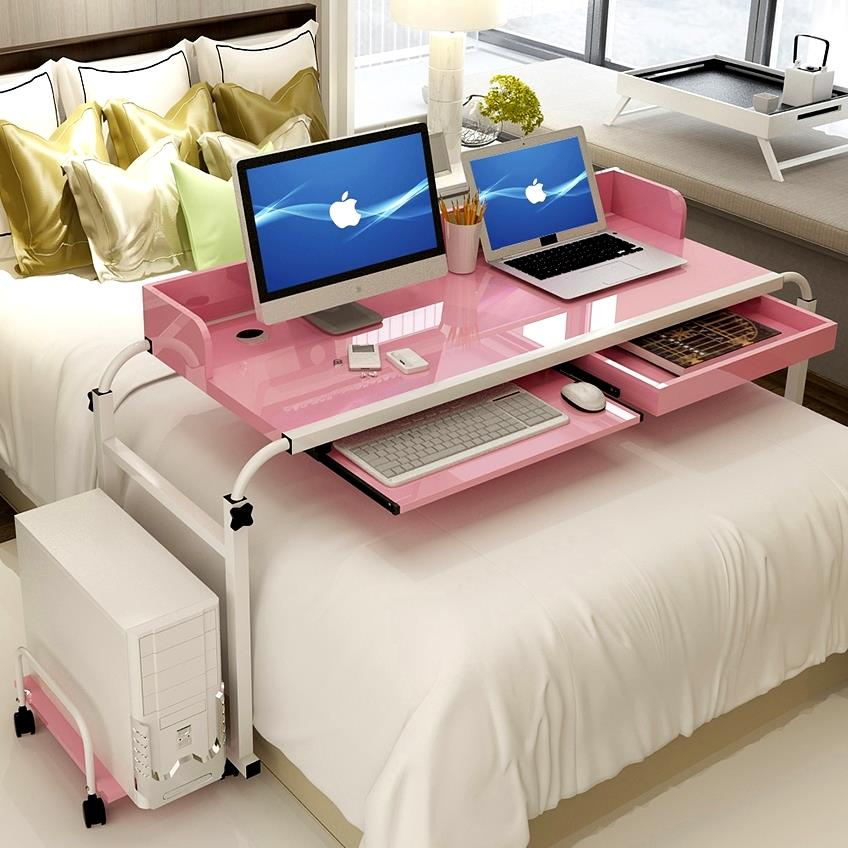 Mobile Computer Desk Laptop Stand With Drawer Workstation Cart Bedroom. U2039 U203a