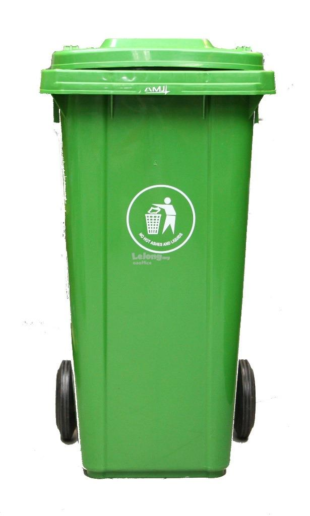 Mobile Garbage Bin Rubbish Trash Can Container With Wheels 120L