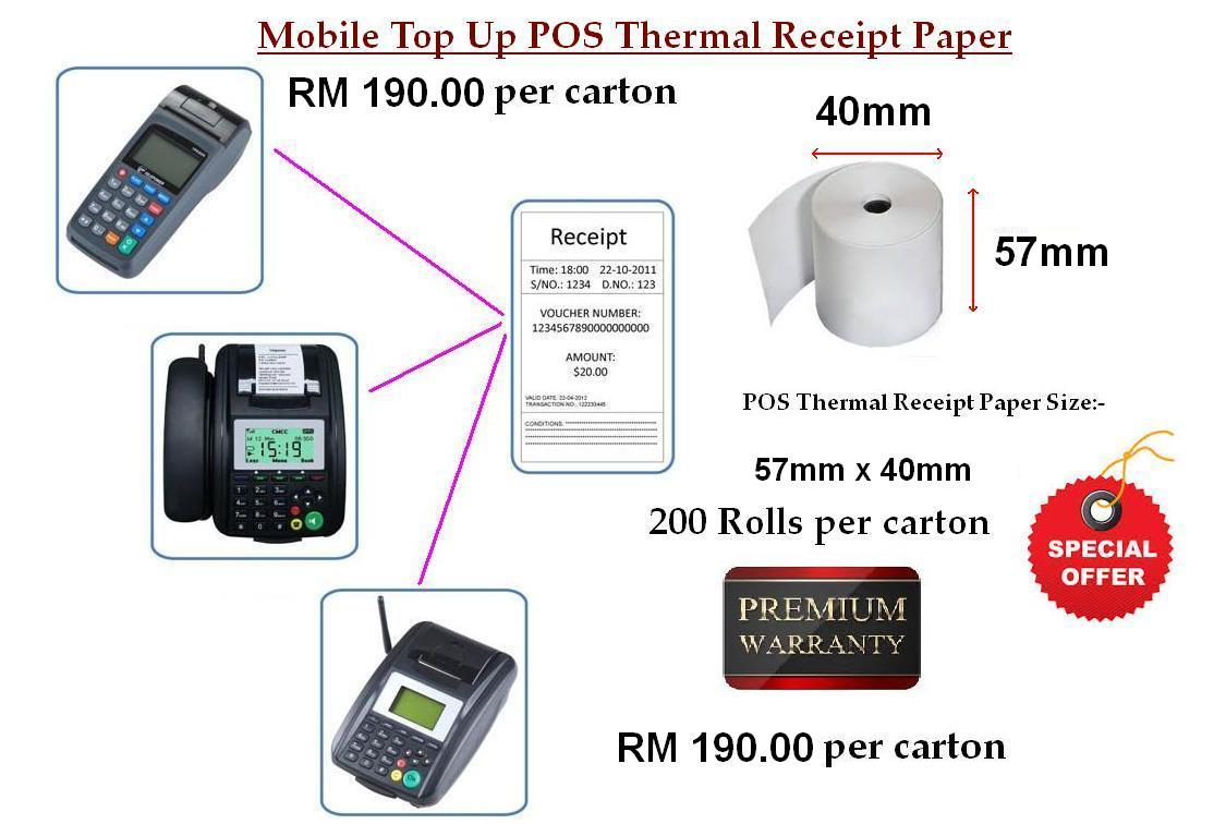 Mobile Top Up Pos Thermal Printer Paper 57mmx40mmx12mm