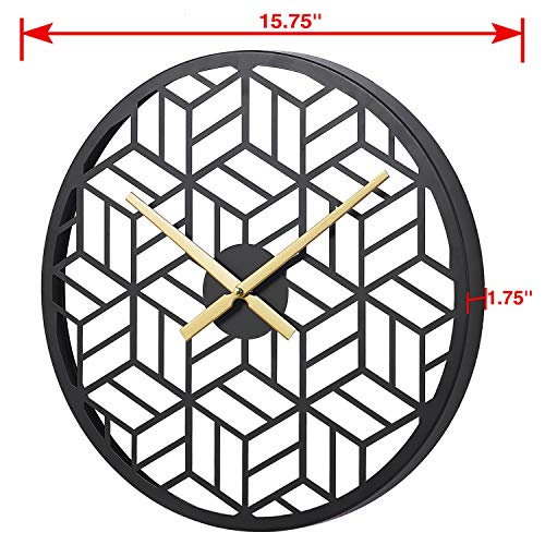 "..// Modern Black Wall Clocks 15 "" Metal Decorative for Living Room Kitch"