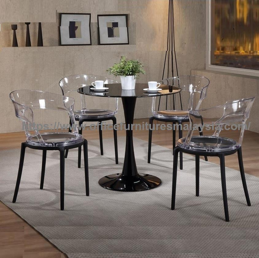 Modern Clear Acrylic Dining Glass Table Set YGRDS-3170C3157BL/W  PJ