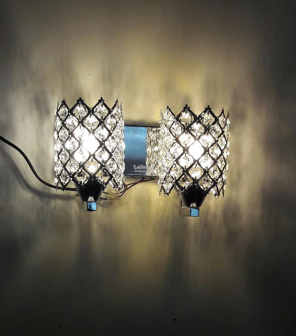 Modern crystal wall sconces double slider silver wall lights