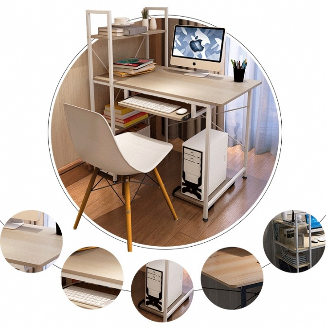 Modern Home Office Ikea Style Desk Table With Shelf Keyboard Tray (Map