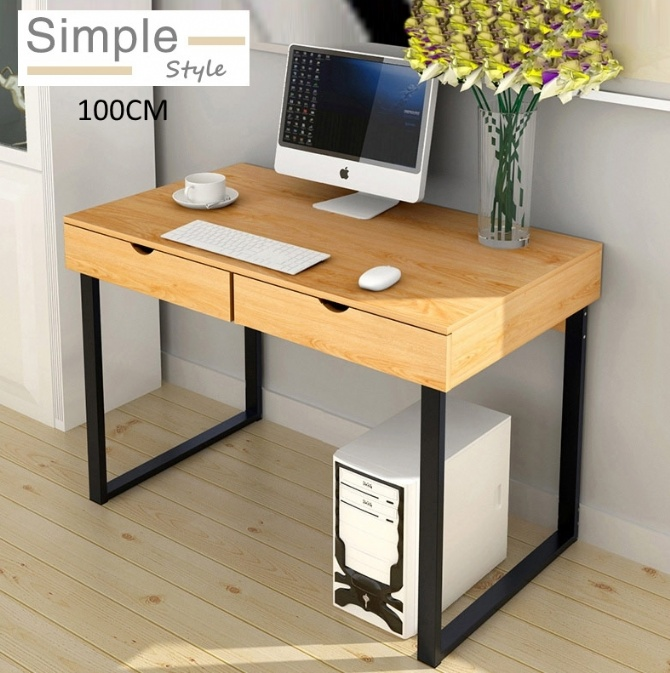Modern Home Office Ikea Style Drawer Desk Table Yellow Wood 100cm