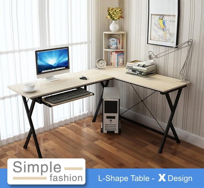 Modern Home Office Ikea Style L SHAPE Desk Table X Design (Maple)