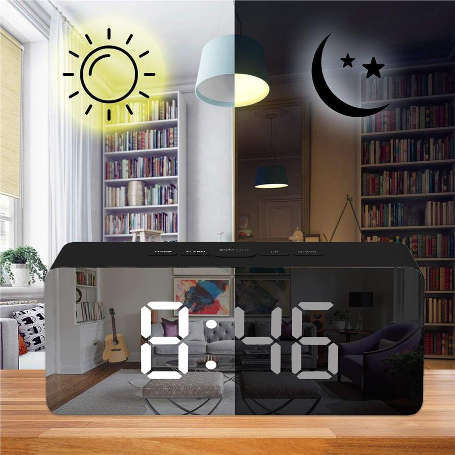 Modern LED Mirror Alarm Snooze Clock Display Temperature Time