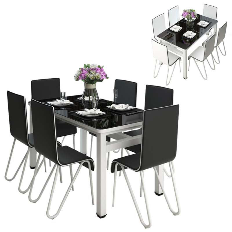 Modern Rectangle Tempered Glass Top Dining Table Set With 4 Chair