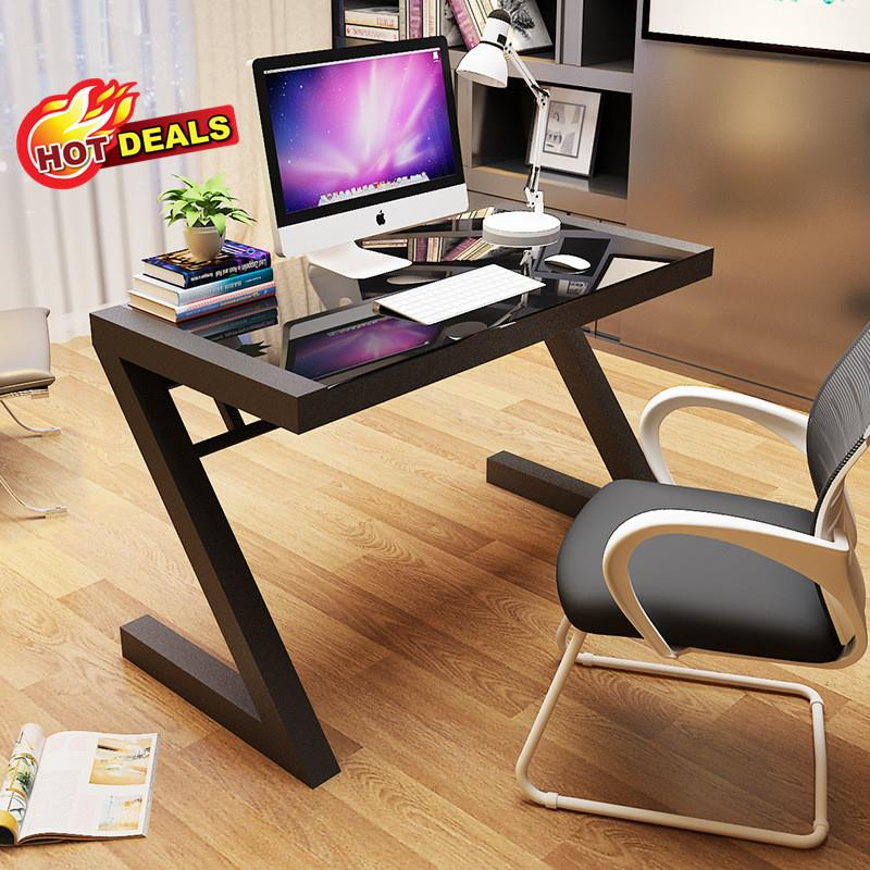 New Modern Z Design Office Computer Study Writing Tempered Glass Table