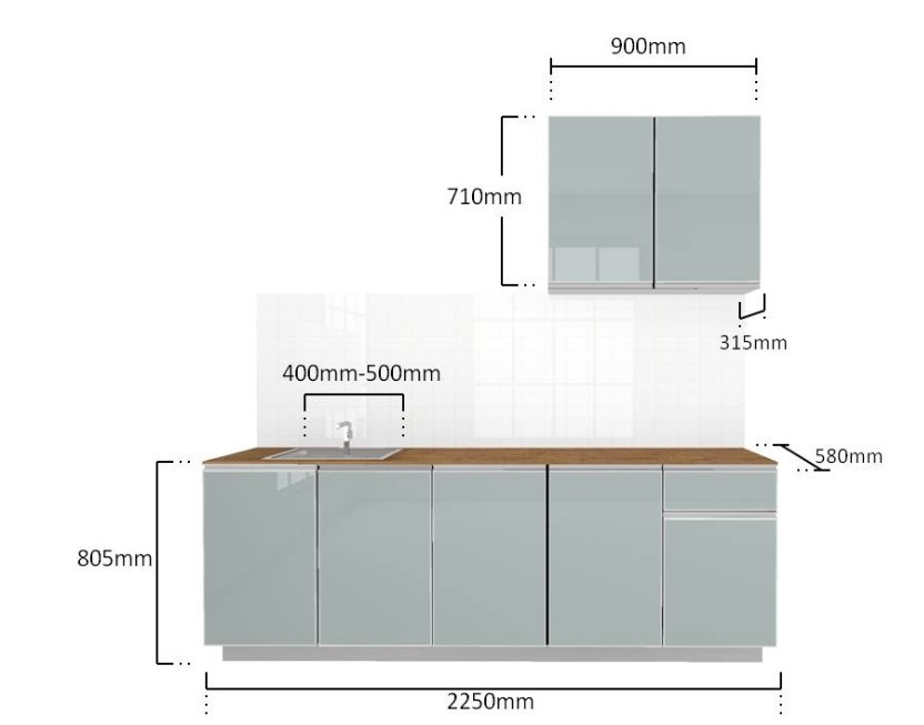 Modular System Aluminium Kitchen Cabinet 2250mm K004