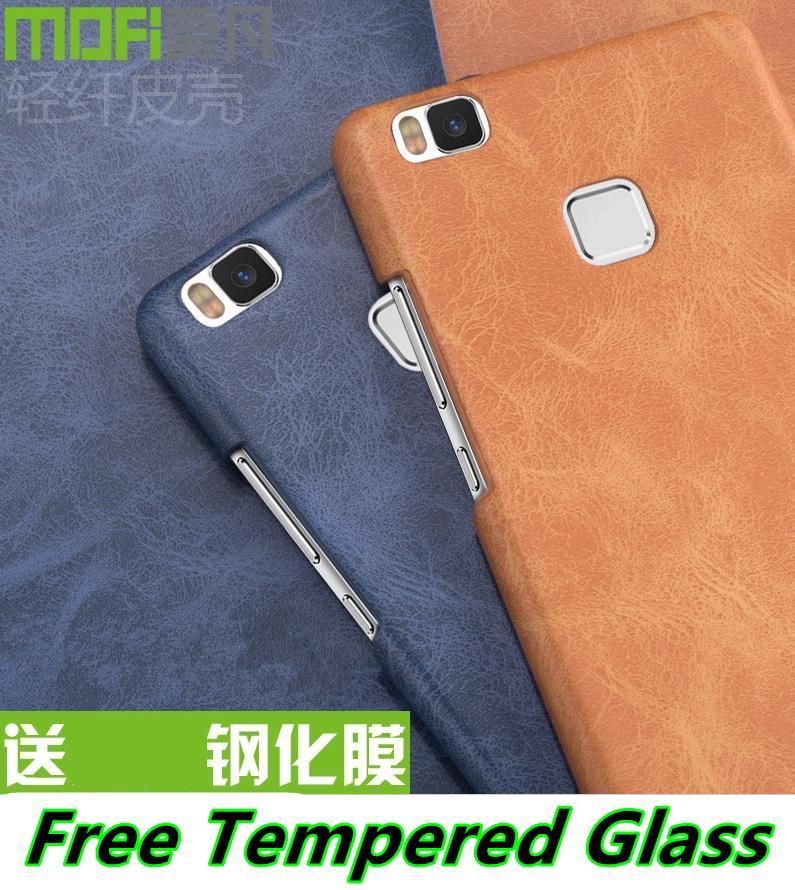 nuovo prodotto c47ca 30ebb Mofi Huawei P9 / Lite Leather Back Case Cover Casing + Tempered Glass