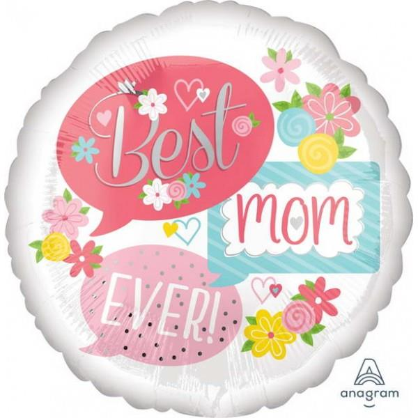 Best Mom Ever 17in Foil Balloon 37061 Round White Callouts Floral