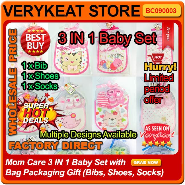 Mom Care 3 IN 1 Baby Set With Bib,Shoes,Socks with Bag Packaging Gift