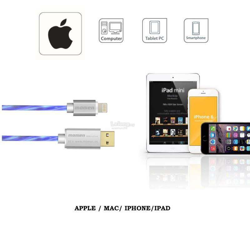 MOMEN Apple iPhone/ Micro USB/ Type-C Fast Charging LED Glow USB Cable
