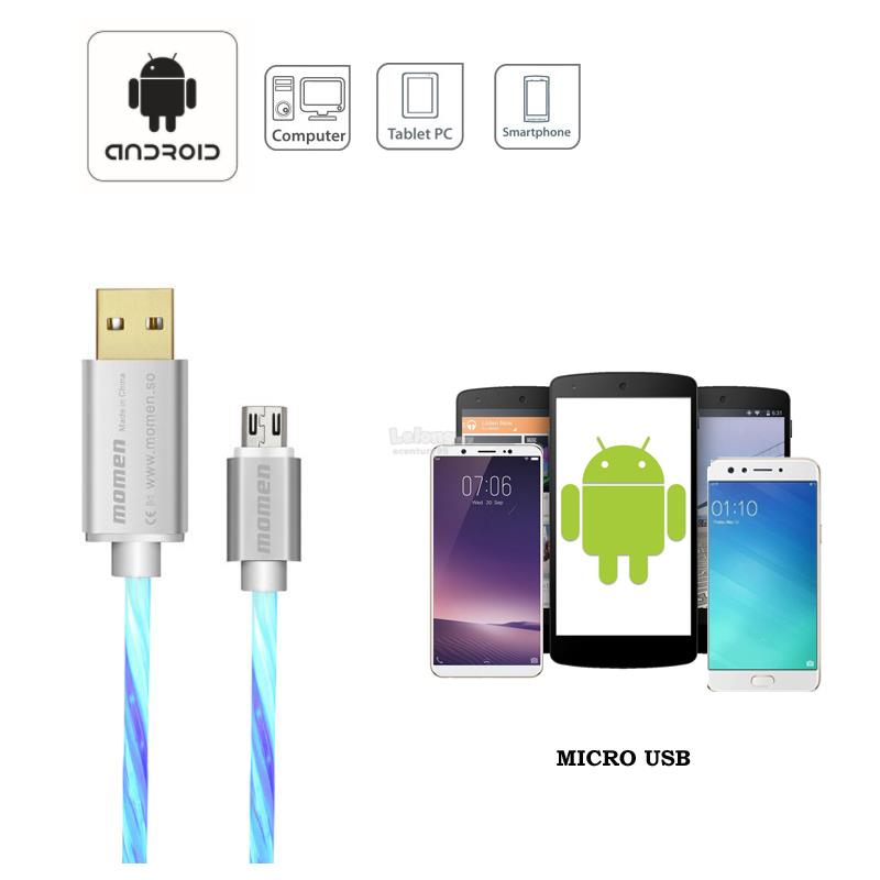 MOMEN APPLE LIGHTNING/ ANDROID TYPE-C/ MICRO USB LED GLOW LIGHT CABLE