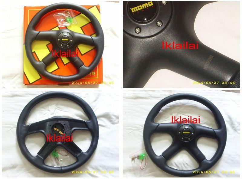 Momo Putra 14 Inch Leather Steering 4-Spoke