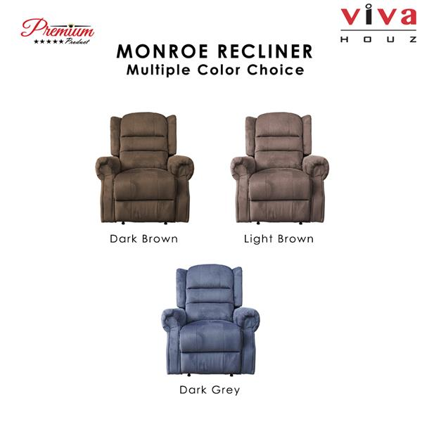 Monroe Single Seat Recliner Chair, Sofa, Full Fabric Cover (Dark Grey)