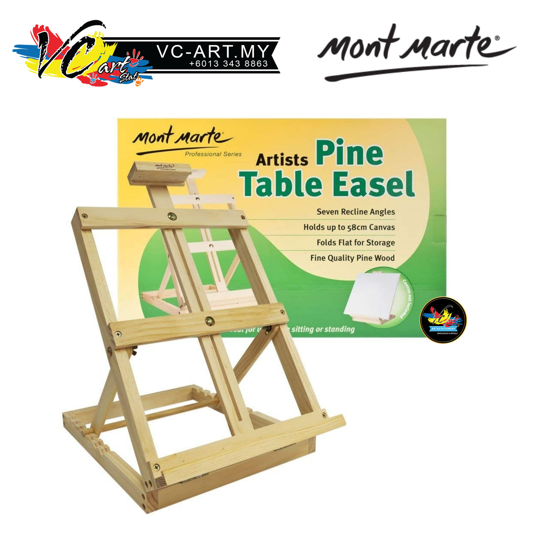 Mont Marte Artists Pine Table Easel - MCG0007