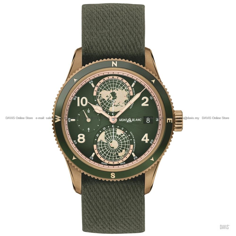MONTBLANC 119909 Men 1858 Geosphere Dual Time Automatic Nato Green LE