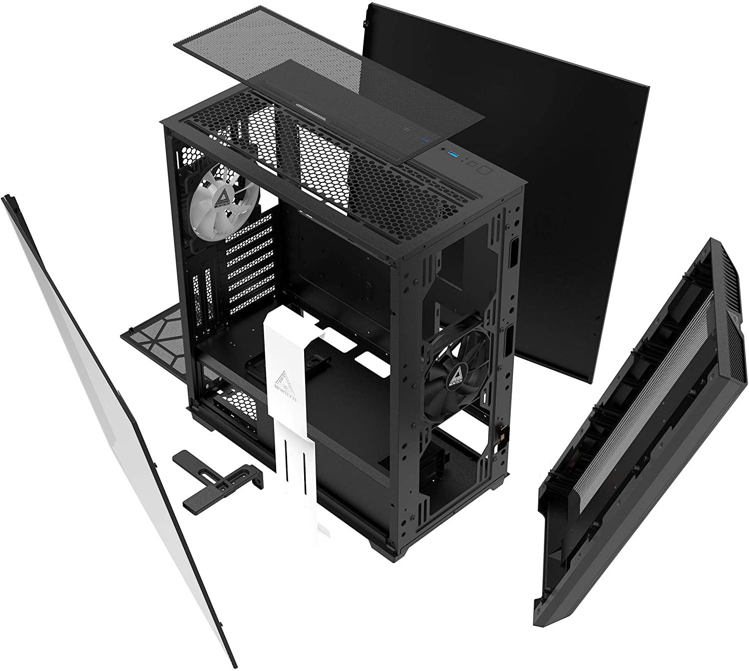 MONTECH SKY ONE HIGH-END ARGB TG ATX MID-TOWER GAMING CASE - BLACK