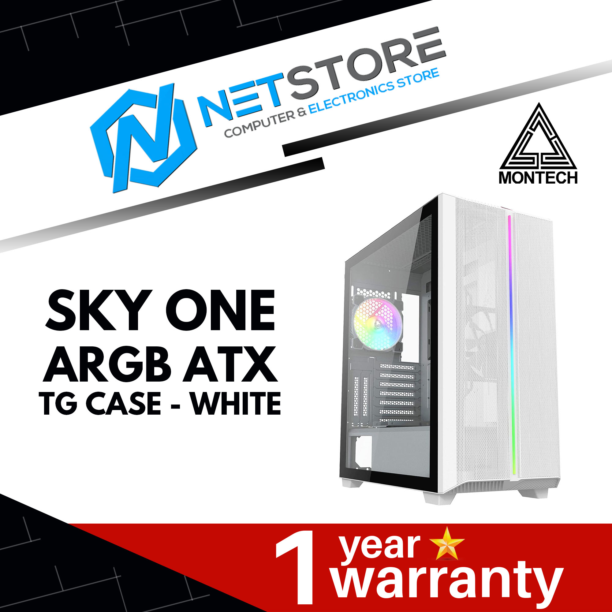 MONTECH SKY ONE HIGH-END ARGB TG ATX MID-TOWER GAMING CASE - WHITE