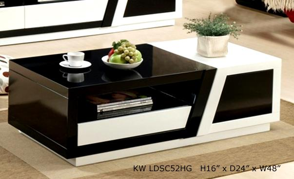 Superior Monty White And Black Coffee Table In High Gloss