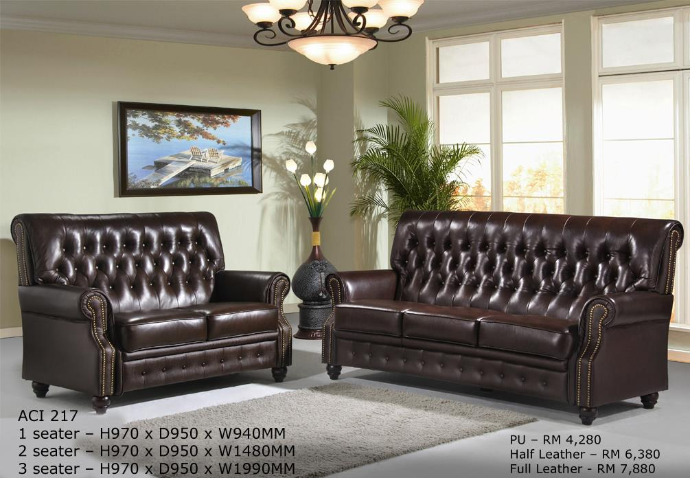 Mooridge Chesterfield Sofa Set in Classic Leatther 2+3
