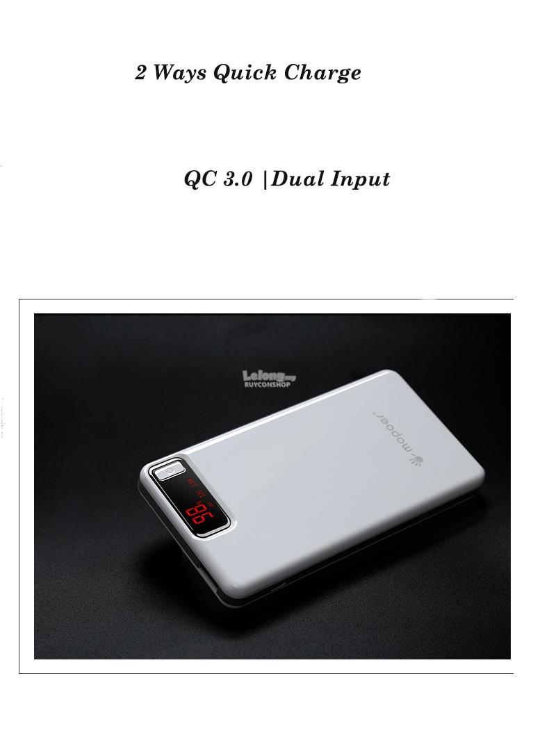 Mopoer 10000mAh Lithium polymer 2 Ways QC 3.0 Quick Charge Power Bank