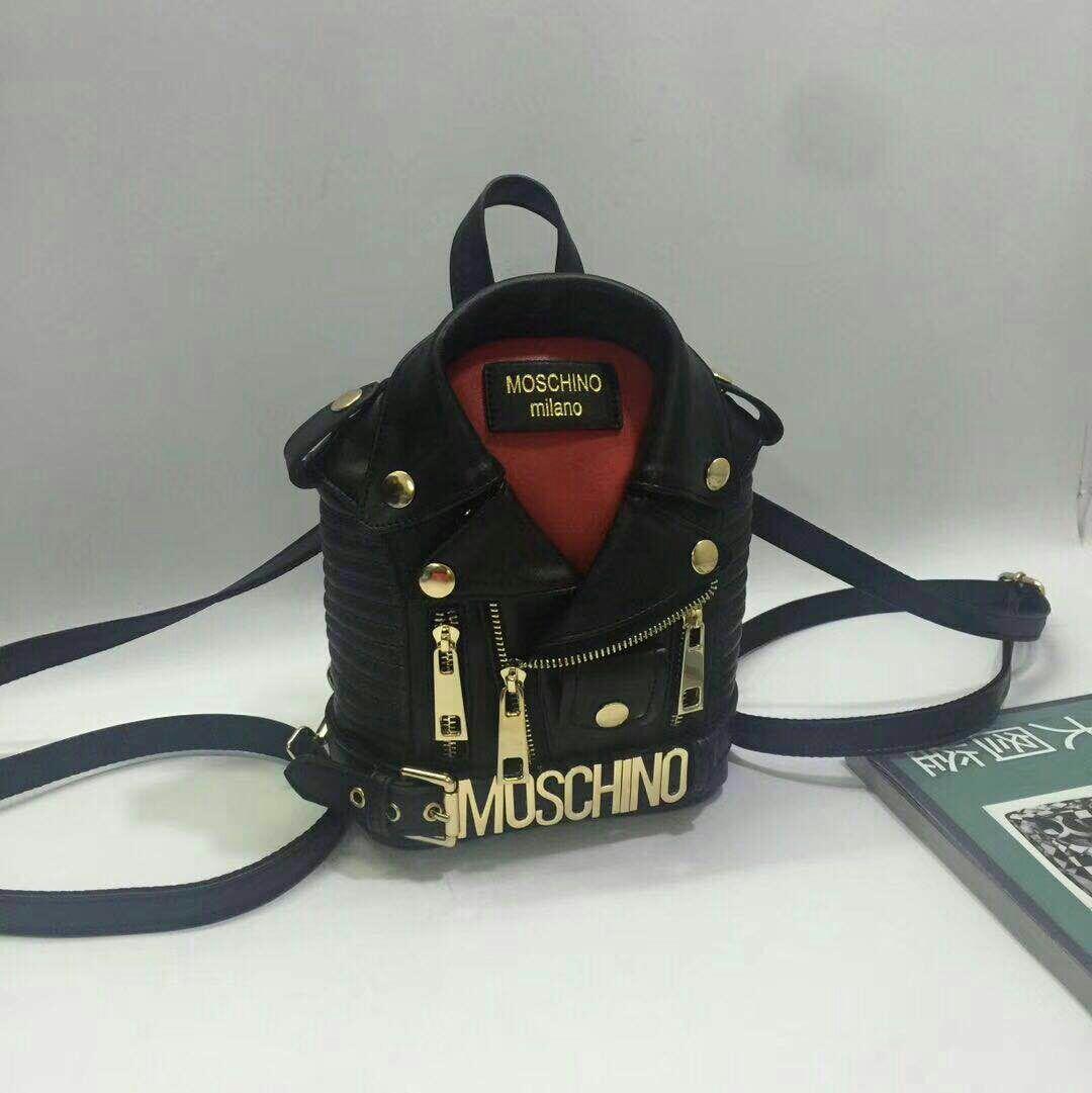 8ad9379304 MOSCHINO Backpack Men Women PU Leather Jacket Shoulder Bag Motorcycle