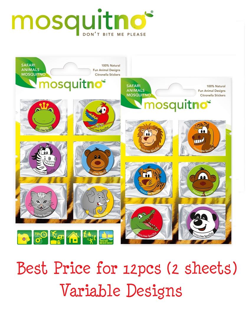 Mosquitno SpotZzz Safari Mosquito Repellant Stickers Safari 12pcs (2 s