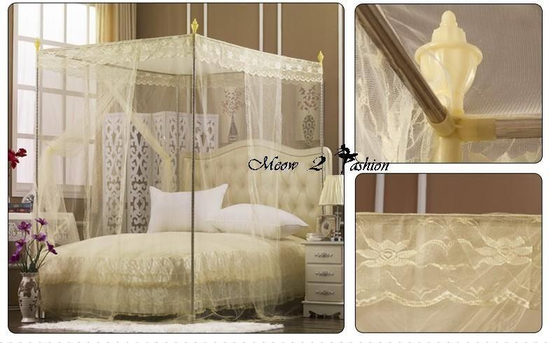 Mosquito Net Beige Color Lace Bed Canopy  5Ft