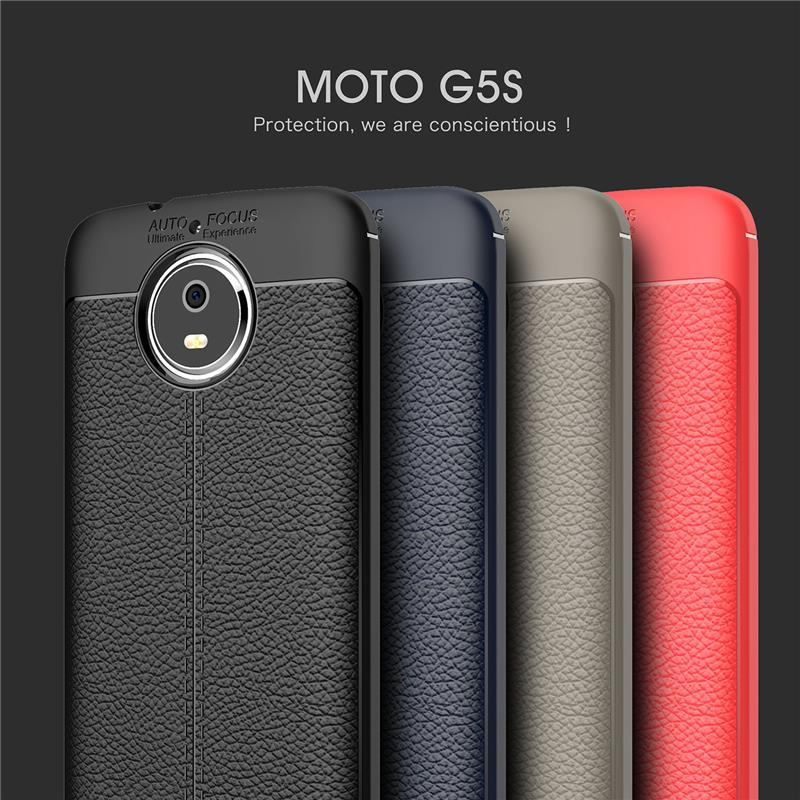 Motorola Moto G5S plus Leather like Back Case Casing Cover + Temper Gl
