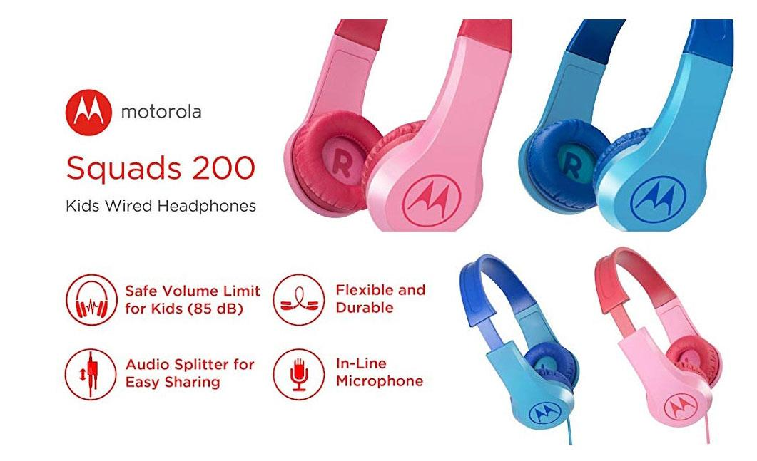 MOTOROLA SQUARDS 200 KIDS WIRED HEADPHONES SAFE VOL FLEXIBLE DURABLE